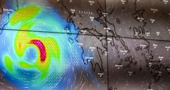 Ιανός: Ο κυκλώνας έχει «μάτι» 50 χιλιομέτρων και ταχύτητα 90 χιλ. την ώρα